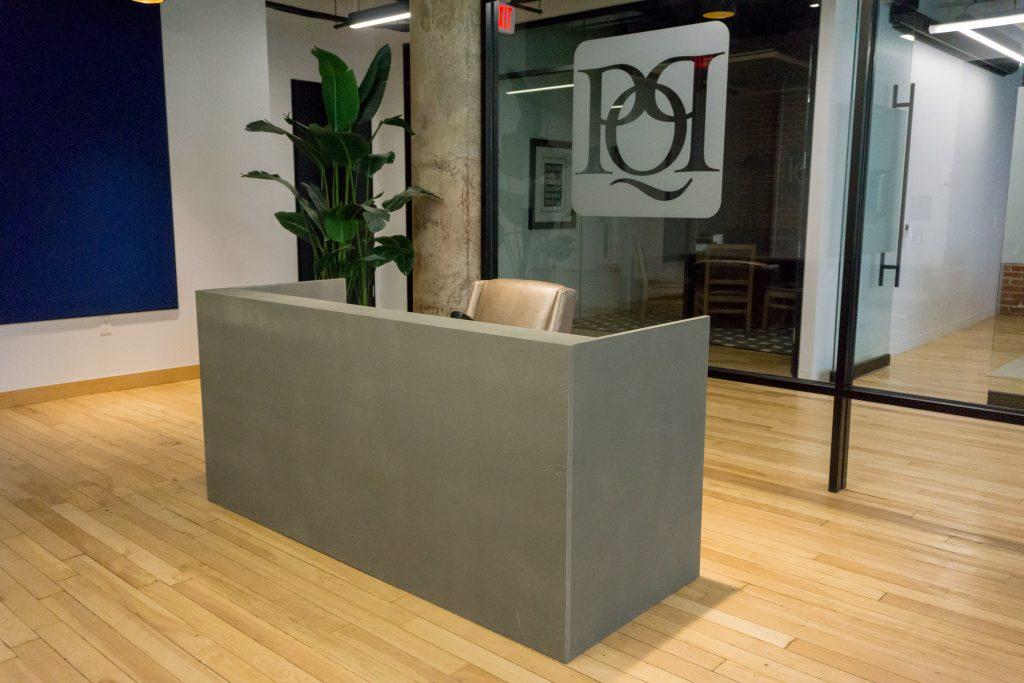 custom salon reception desk live edge
