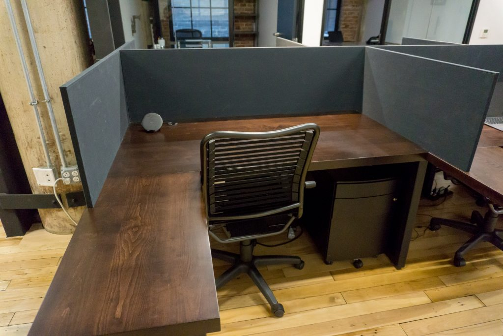 modern reclaimed wood desk office and