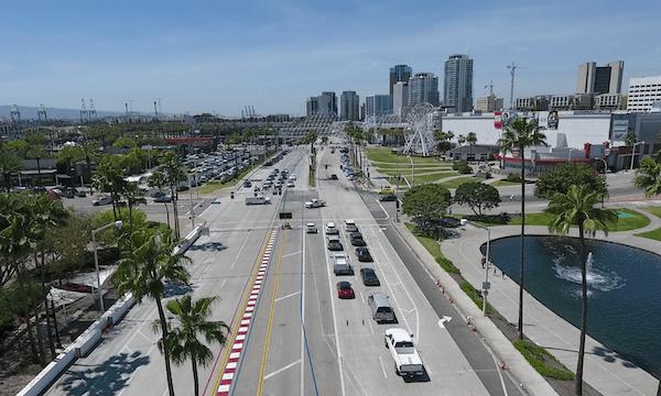 Downtown Long Beach – City Street Aerial Shot