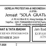 Warta Jemaat Minggu, 01 September 2019