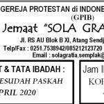 Warta jemaat Minggu, 19 April 2020