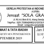 Warta Jemaat 22 September 2019