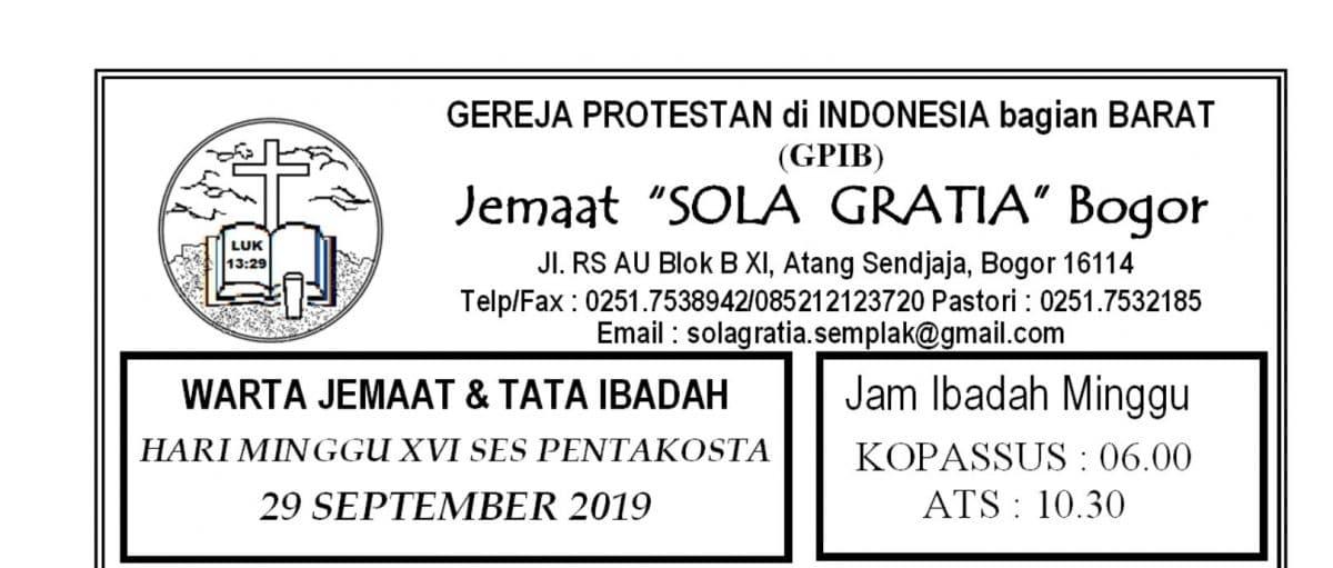 Warta Jemaat Minggu, 29 September 2019