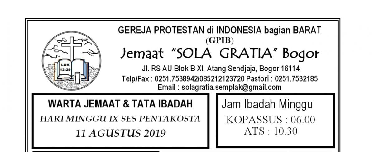 Warta Jemaat Minggu, 11 Agustus 2019