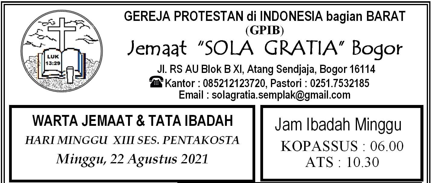 Read more about the article Warta Jemaat, Minggu 22 Agustus 2021