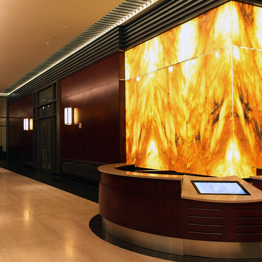 Backlit Onyx Wall  Columns  Wells Fargo  GPI Design