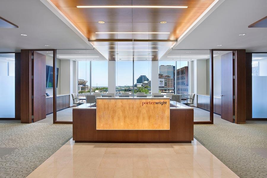 Backlit Wood Reception Desk  Wood Panels  GPI Design