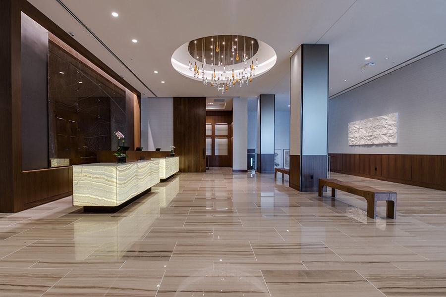 Backlit Honey Onyx Reception Desks  Panel  GPI Design