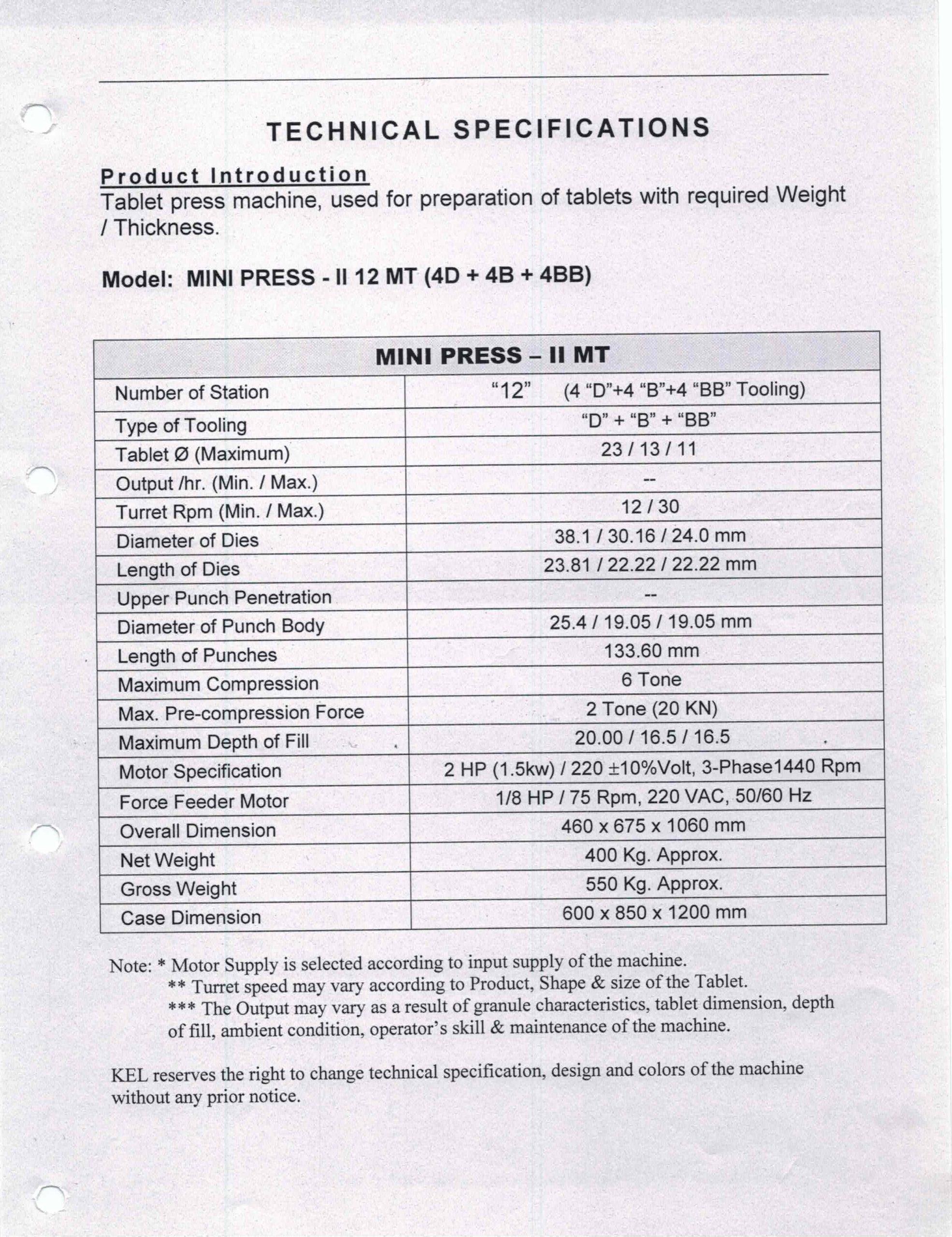KARNAVATI TABLET PRESS MODEL MINI II MT, 12 STATIONS, 4D
