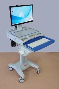 chariot informatique mobile de coté clavier ouvert