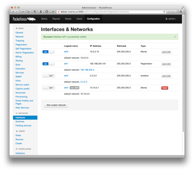 Packetfence interface reseaux