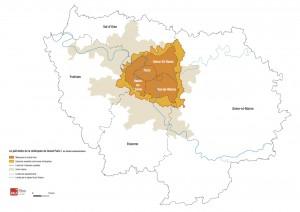 Le périmètre administratif créé par la loi pour la Métropole du Grand Paris (IAU îdF)