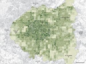 Part d'espace public. Cette carte représente la part d'espace public dans la ville calculée par carreau d'1 km². Paris comprend 26% de sa superficie en espace publics (place, voies) alors qu'en Petite Couronne le ratio d'espaces publics est en moyenne de 15%. Ceci est du à l'espace pris par les maisons individuelles et leurs jardins privés.