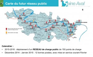 Carte du réseau public de bornes de recharge Seine Aval