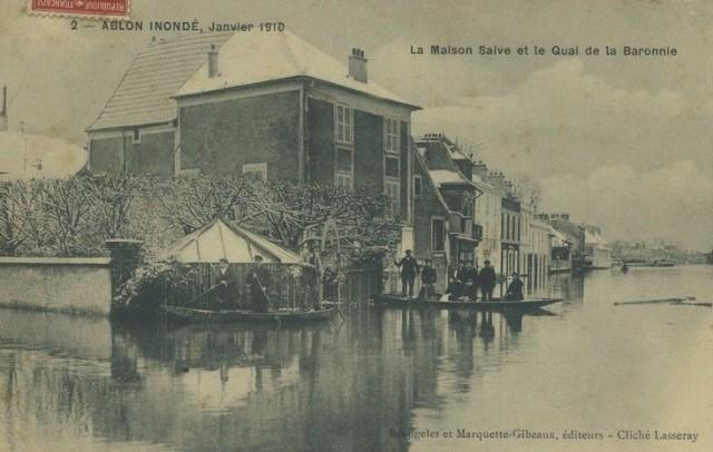 Ablon inondation de 1910 Maison Salve et quai de la Baronnie