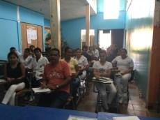 Nursing students in a classroom at UNAN