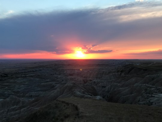 sunset in Badlands