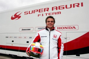 Giedo van der Garde in Super Aguri attire. He would defect to Spyker shortly after, which would involve a later court battle.