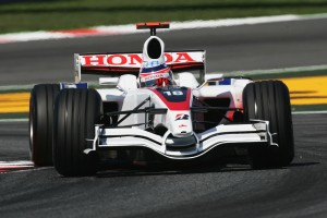 Super Aguri in their final race at Barcelona. The car featured significantly less red than before, unlike their balance sheets.