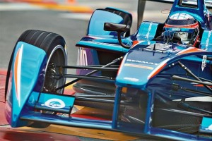Takuma Sato reunited briefly with Aguri Suzuki to drive the Amlin Aguri Formula E car at Beijing in 2014.