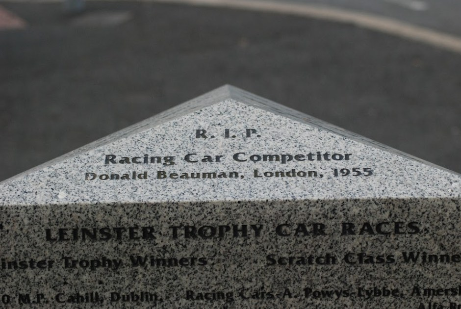 Don Beauman's name on the plaque in Wicklow, erected 45 years after his death on the circuit.