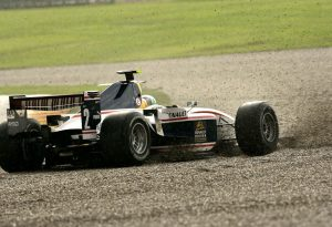 The end of di Grassi's 2007 GP2 title aspirations. Gambling on slicks, he slid off on a damp track and was beached at Valencia.