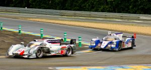 The #8 does battle with the #2 Audi at Le Mans.
