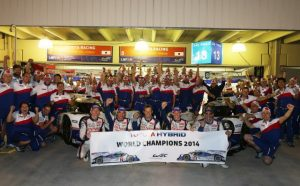 At last! Buemi celebrates his first car racing title at the end of the 2014 WEC season.
