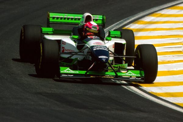 Lamy put in a strong performance at Interlagos in '96, running strongly before retiring. (LAT)