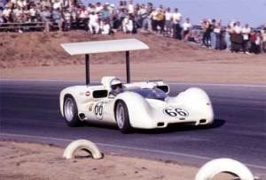 The Chaparral 2E, driven by Jim Hall himself at Riverside in 1966.