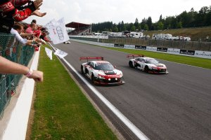 The Audi of Markus Winkelhock, Christopher Haase and Jules Gounon win the 24 Hours of Spa.