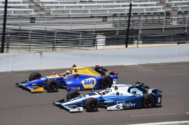 Alexander Rossi and Max Chilton during practice for the 101st Indianapolis 500