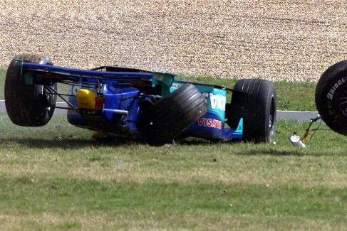 This image sent chills through the F1 paddock, thankfully Pedro was OK, Nurburgring 1999 (Photo: FRANK AUGSTEIN/Associated Press)