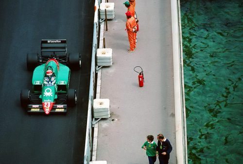 Eddie Cheever hustling his 185T into places it had no right to be, Monaco 1985