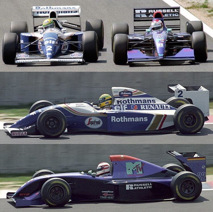 Possibly the only known photo of Senna and Ratzenberger side by side, 1994 Pacific GP practice. (Photo: @1990sF1 on Twitter)