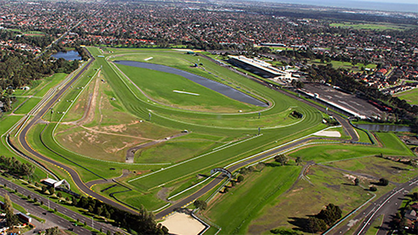 """Sandown Raceway today. Left front in the picture, there still are some visible traces of the """"International Loop"""" that was symbolic of the brief F1 ambitions."""