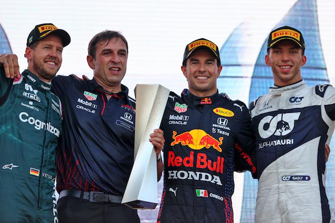 Four happy faces on the podium at Baku. Photography: Moy / XPB Images