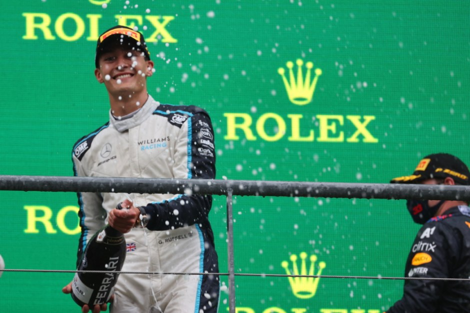 George Russell celebrates his debut podium in F1 - he was the biggest winner on Sunday! Photo: Williams Racing / Williams Media
