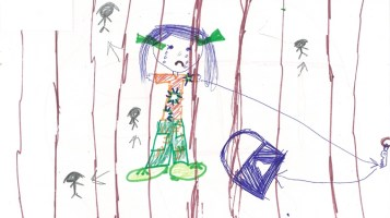 Drawing: Picture by a child in immigration detention.
