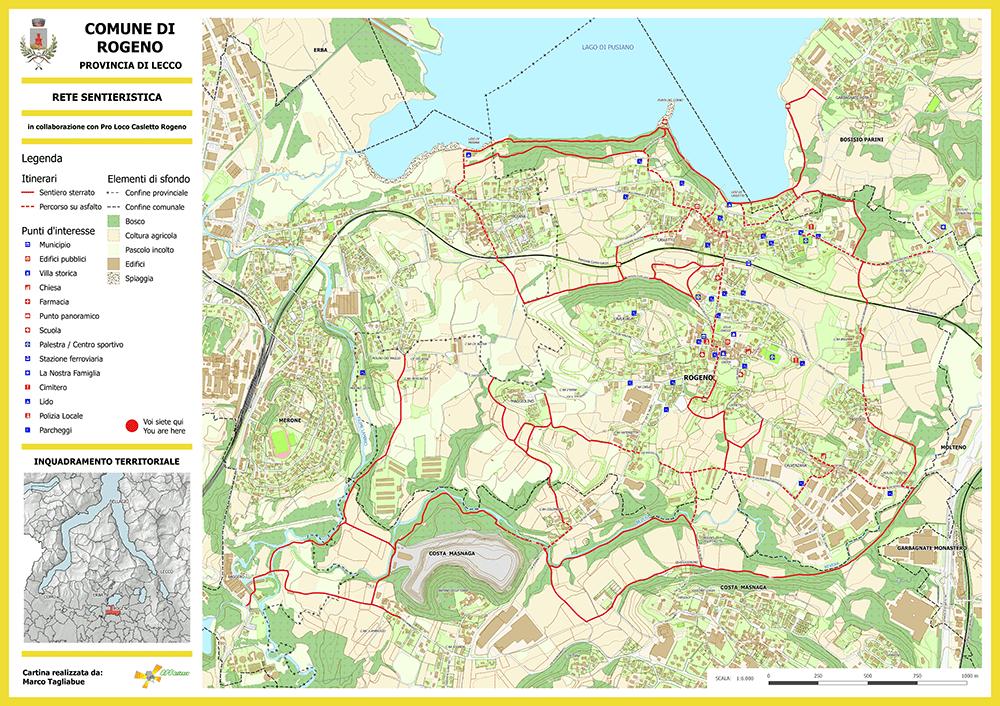 Cartina sentieri Rogeno ridotta