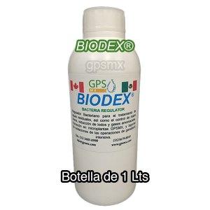 Presentación botella de 1 Lts de Biodex regulador bacteriano para planta de tratamiento de agua residual