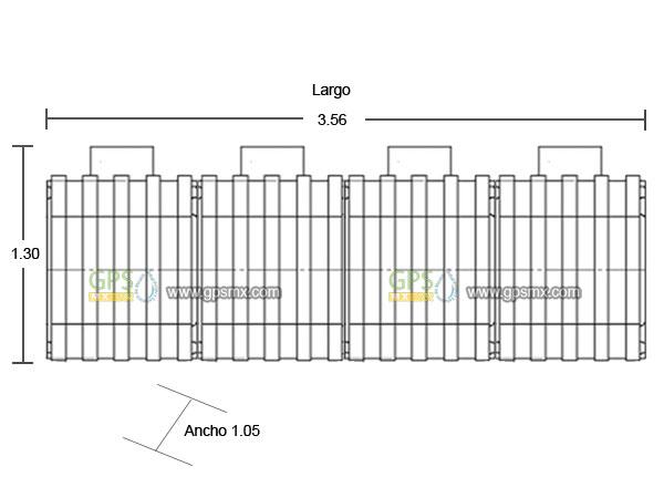 Dimensiones Microplanta de tratamiento de agua residual Gpsmx Modelo 3200 4 modulo
