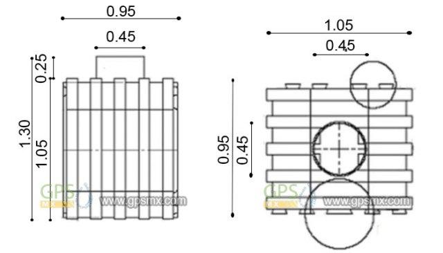 Medidas de Microplanta de tratamiento de agua residual Gpsmx 1 modulo