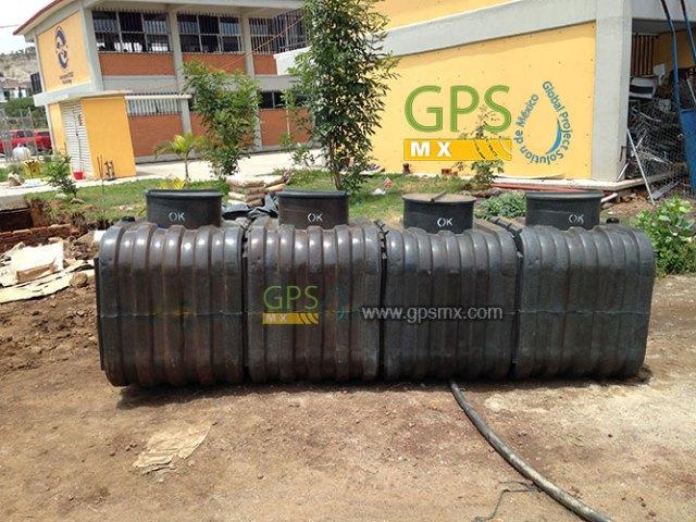 Microplanta de tratamiento de agua residual modular Gpsmx en escuela rural