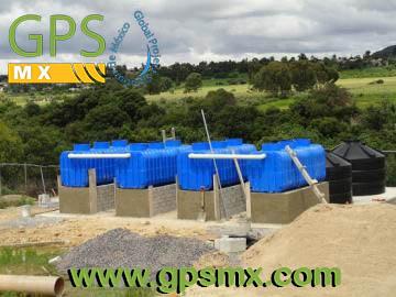 Sistema 9600 Lts con Microplanta de tratamiento de agua residual Gpsmx Modelo 2500 3 modulo