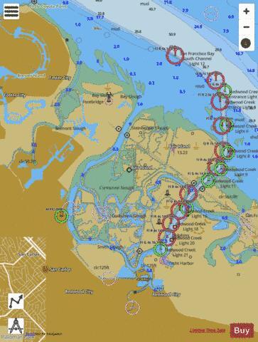 San Francisco Bay Fishing Map : francisco, fishing, FRANCISCO, ANTIOCH, REDWOOD, CREEK, (Marine, Chart, US18652_P1831), Nautical, Charts