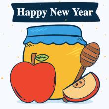 Happy New Year text with hand drawn honey and apple images