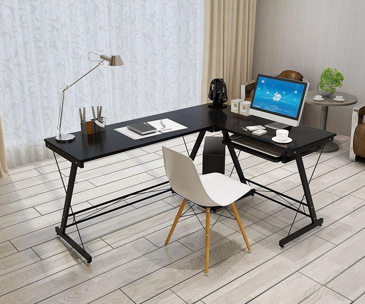 soges l shaped gaming computer desk gpunerd. Black Bedroom Furniture Sets. Home Design Ideas