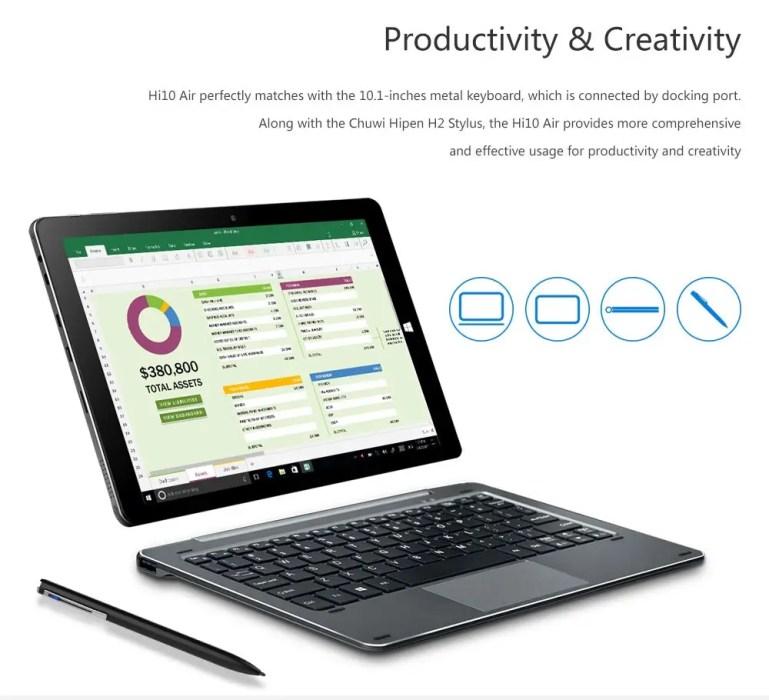Chuwi Hi10 Air: με πληκτρολόγιο, stylus και Windows 10