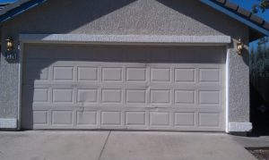 cracked panel garage door